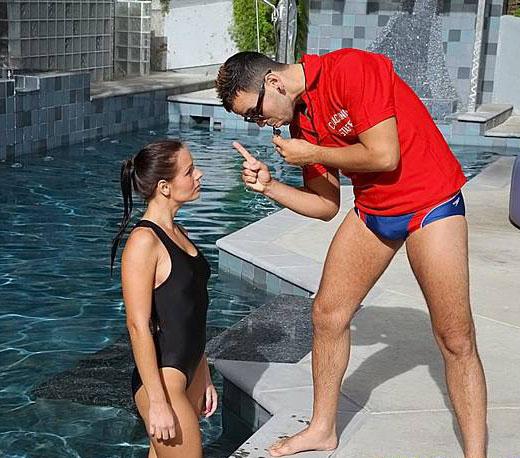 Swim Coach in Speedos
